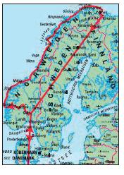 Hurtigruten Karte Bergen-Kirkenes